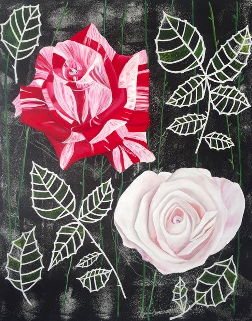 Kimberly DuRoss - Pink and Red Striped Roses